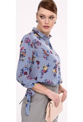 Lafaba Kolları Bağcıklı Desenli Mavi Gömlek