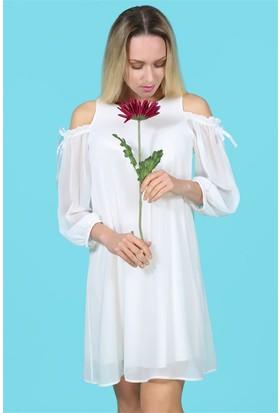 Lafaba Omuz Dekolteli Beyaz Elbise