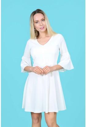 Lafaba Kolları Volanlı Beyaz Elbise