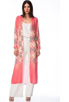 Lafaba Ekoseli Kırmızı Kimono