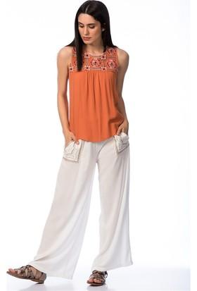 Lafaba Nakışlı Beyaz Pantolon