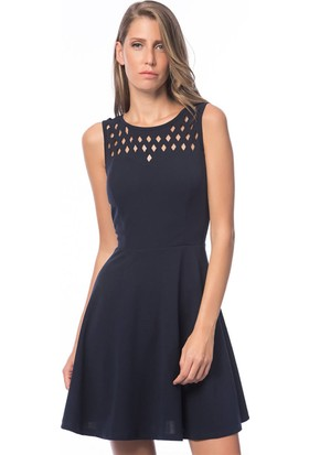 Lafaba Lazer Kesim Lacivert Elbise