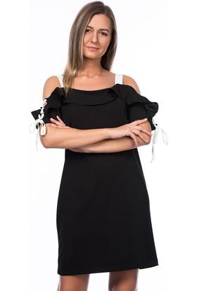 Lafaba Kolları Biyeli Siyah Elbise