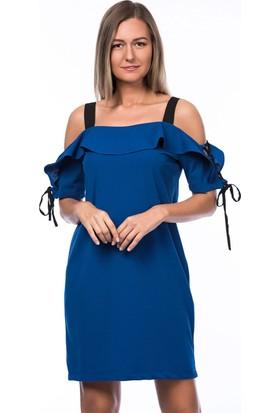 Lafaba Kolları Biyeli Mavi Elbise
