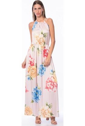 Lafaba Kolsuz Desenli Uzun Pudra Elbise