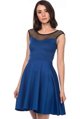 Lafaba Üstü Tül Detaylı Mavi Elbise