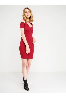 Lafaba Minik Kol Bordo Elbise