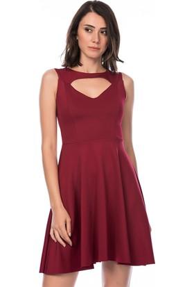 Lafaba Dekolteli Bordo Elbise