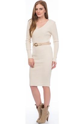 Lafaba Bej Triko Elbise