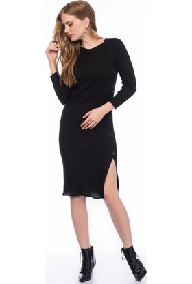 Lafaba Düğmeli Siyah Triko Elbise