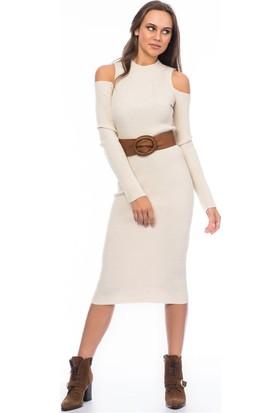 Lafaba Omuzları Açık Bej Triko Elbise