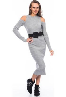Lafaba Omuzları Açık Gri Triko Elbise