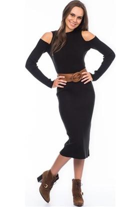 Lafaba Omuzları Açık Siyah Triko Elbise