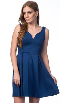 Lafaba V Yaka Mavi Elbise