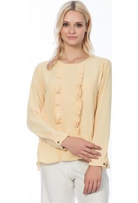 Lafaba Önü Fırfırlı Eteği Büzgülü Sarı Bluz