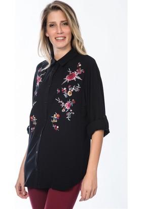 Lafaba Nakışlı Siyah Gömlek