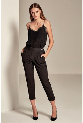 Lafaba Pileli Beli Lastikli Siyah Kadın Pantolon