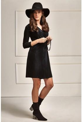 Lafaba Kruvaze Kadife Kumaş Siyah Elbise