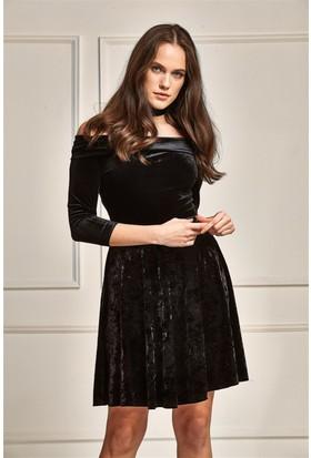 Lafaba Kadife Kloş Siyah Elbise