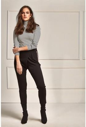 Lafaba Yanları Şeritli Siyah Pantolon