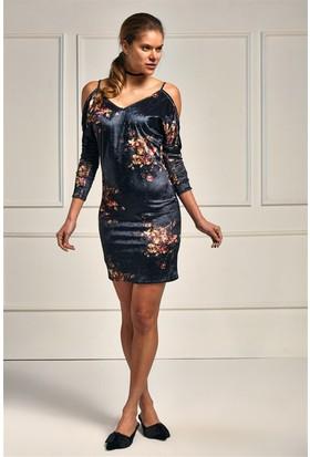 Lafaba Askılı Desenli 90 Cm Elbise