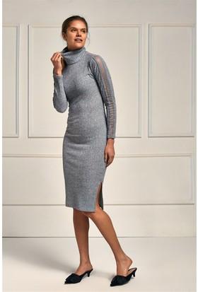 Lafaba Gri Kolları Dantelli 108 Cm Elbise