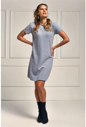 Lafaba Gri Çakım Detaylı Kısa Kollu 90 Cm Örme Elbise