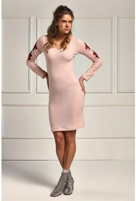 Lafaba Pudra Kolları Nakışlı 95 Cm Örme Elbise