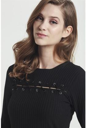 Lafaba Kuşgöz Detaylı Siyah Elbise