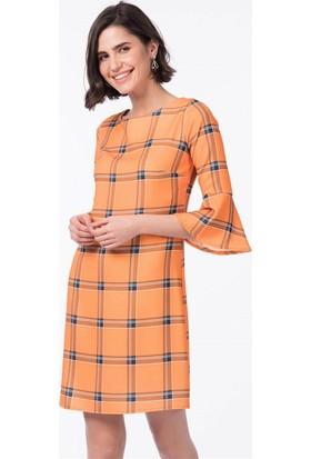 Lafaba Kolları Volanlı Ekose 92 Cm Hardal Elbise