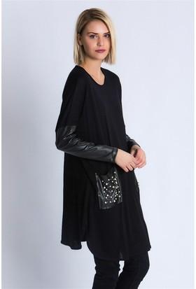 Lafaba Kolları Ve Cebi Deri Siyah Tunik