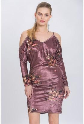 Lafaba Askılı Desenli Pudra Elbise