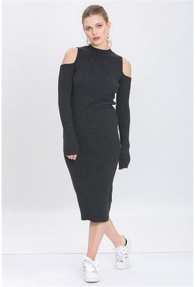 Lafaba Omuzları Açık Antrasit Triko Elbise