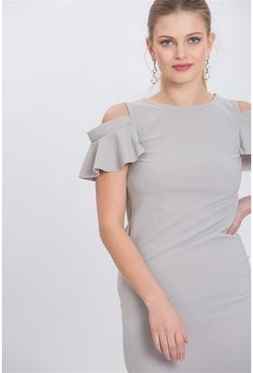Lafaba Omuzu Açık Gri Elbise