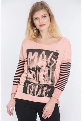 Lafaba Önü Baskılı Somon T-Shirt