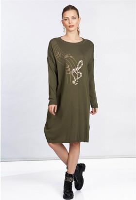 Lafaba Önü Taş İşlemeli Triko Haki Elbise