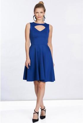 Lafaba Dekolteli Mavi Elbise