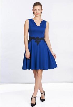 Lafaba Dantelli Lazerli Mavi Elbise