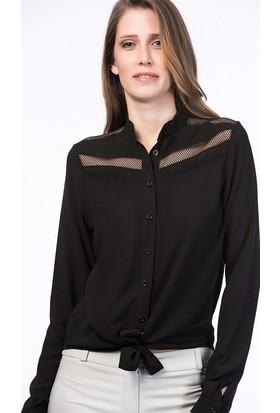 Lafaba Omuzları Fileli Siyah Gömlek