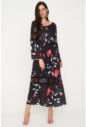 Lafaba Dantel Detaylı Desenli Siyah Elbise