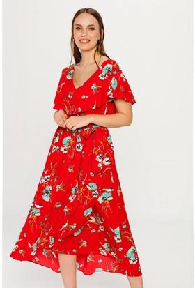Lafaba Desenli Kırmızı Elbise