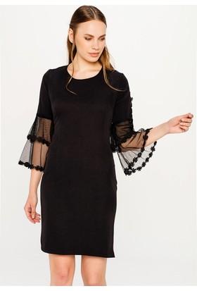 Lafaba Kolları Volanlı Siyah Elbise