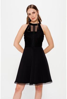 Lafaba Dantelli Siyah Elbise