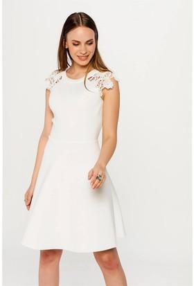 Lafaba Dantelli Beyaz Elbise