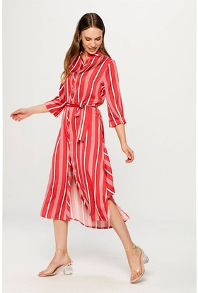 Lafaba Çizgili Kırmızı Elbise
