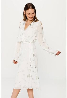 Lafaba Baskılı Beyaz Elbise