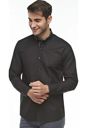 Ottomoda Kontrast Detaylı Siyah Gömlek