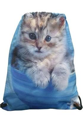 Fudela Ft 03 Kadın İpli Sırt Çantası Kedi Desenli