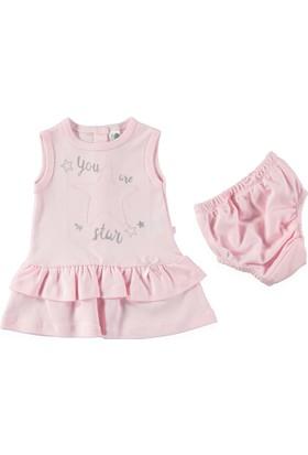 Carmin Baby Yıldız Nakışlı Külotlu Elbise - Pembe