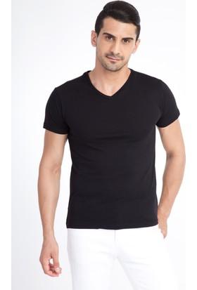 Kiğılı V Yaka Slim Fit T-Shirt